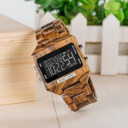 男性 デジタル 木材 4 可変色 多機能 LED 表示 リロイ 木製 ギフトボックス_画像1