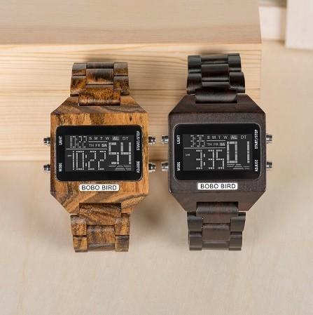 男性 デジタル 木材 4 可変色 多機能 LED 表示 リロイ 木製 ギフトボックス_画像2
