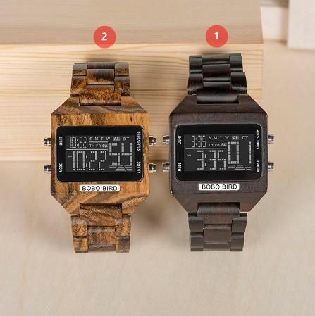 男性 デジタル 木材 4 可変色 多機能 LED 表示 リロイ 木製 ギフトボックス_画像3