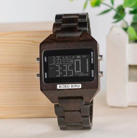 男性 デジタル 木材 4 可変色 多機能 LED 表示 リロイ 木製 ギフトボックス_画像4