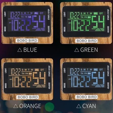 男性 デジタル 木材 4 可変色 多機能 LED 表示 リロイ 木製 ギフトボックス_画像6