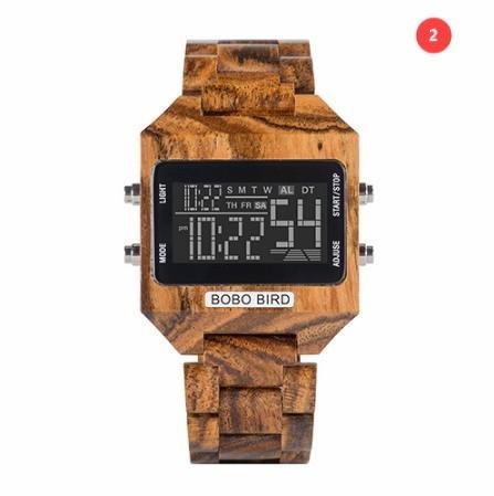 男性 デジタル 木材 4 可変色 多機能 LED 表示 リロイ 木製 ギフトボックス_画像8
