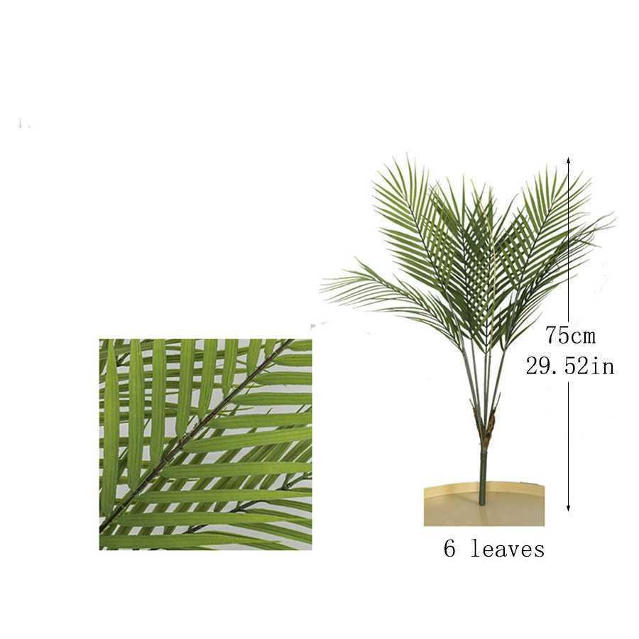 オシャレな人口観葉植物 花 園芸 造花 フェイクグリーン 盆栽 ヤシの木 葉っぱ 枝 インテリア/6 Leaves b_画像1