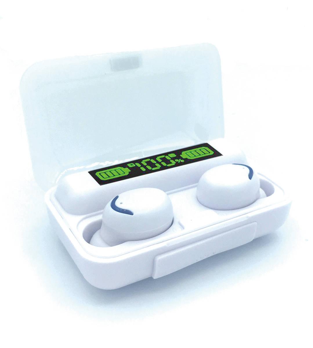ワイヤレス イヤホン 白 防水 モバイルバッテリー ハンズフリー HiFiステレオ LEDディスプレイ ヘッドセット イヤフォン