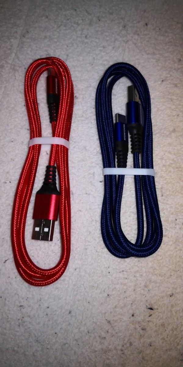 特価!3A 1m type Cタイプ充電ケーブル急速充電 赤+青。2本セット