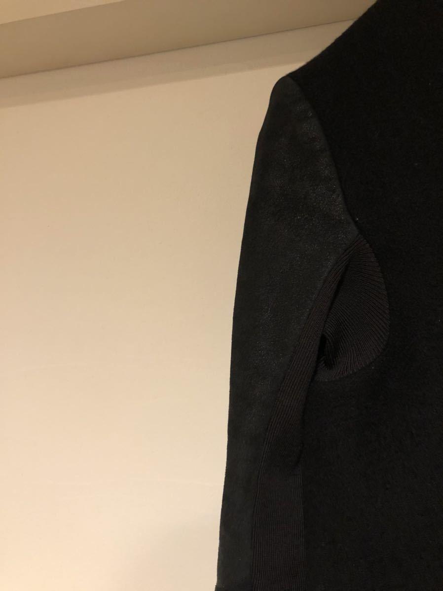 Rick Owens  レザー切替 ウール ドレープ コート ロングジャケット リックオウエンス_画像5
