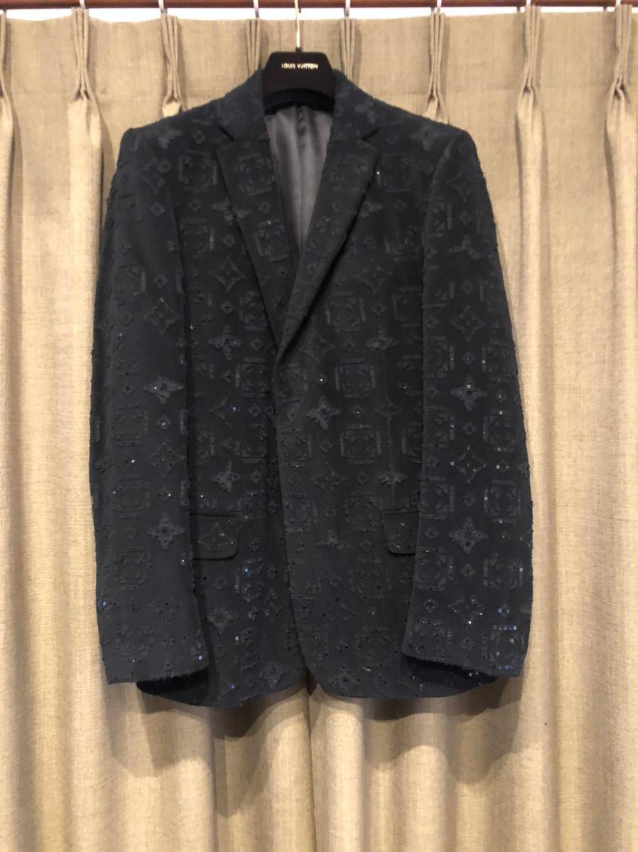 LOUIS VUITTON ルイヴィトン モノグラム総柄 テーラードジャケット 48 コットン ブラック 黒 超希少 定価60万円 高級品_画像1