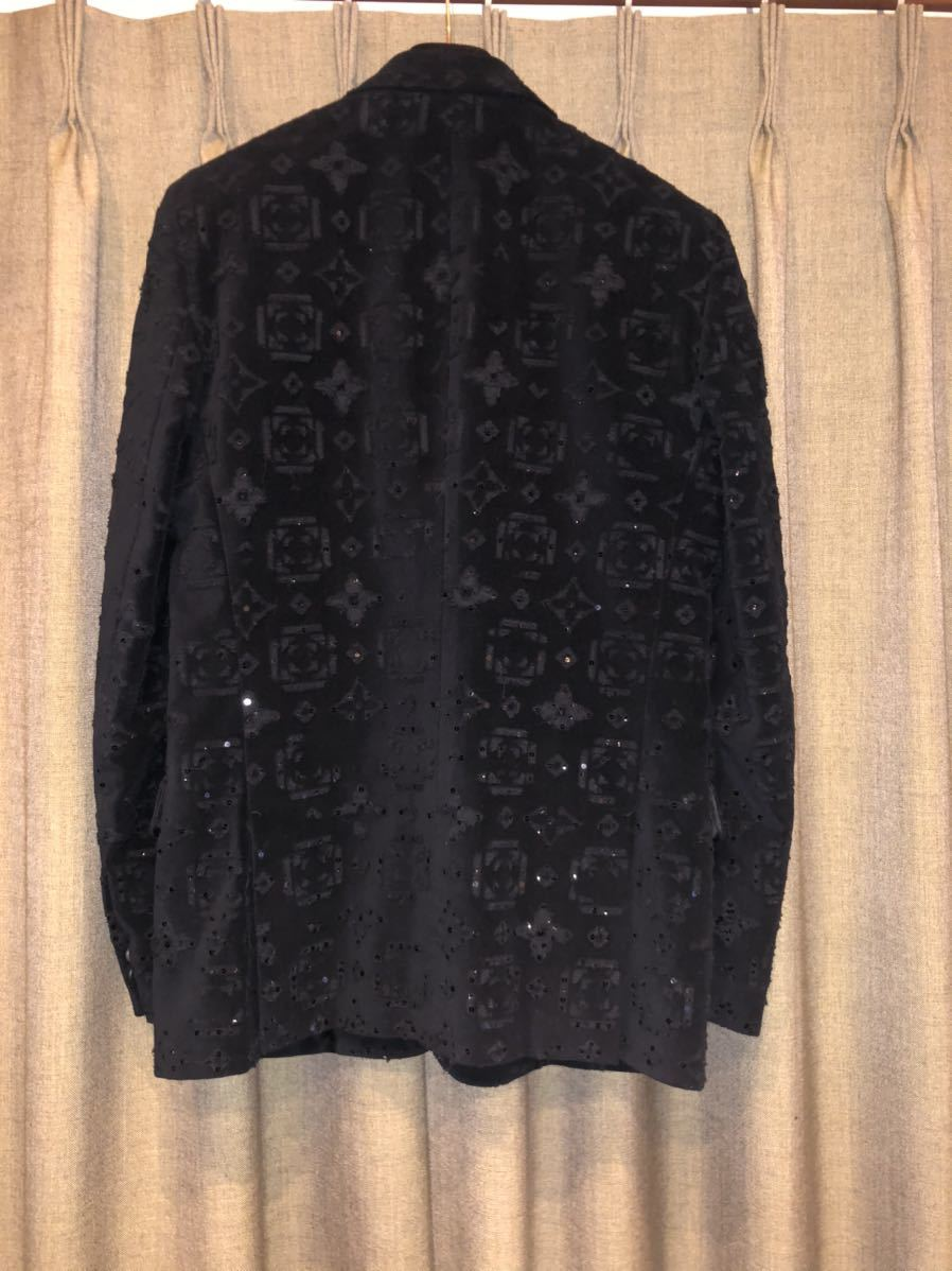 LOUIS VUITTON ルイヴィトン モノグラム総柄 テーラードジャケット 48 コットン ブラック 黒 超希少 定価60万円 高級品_画像3