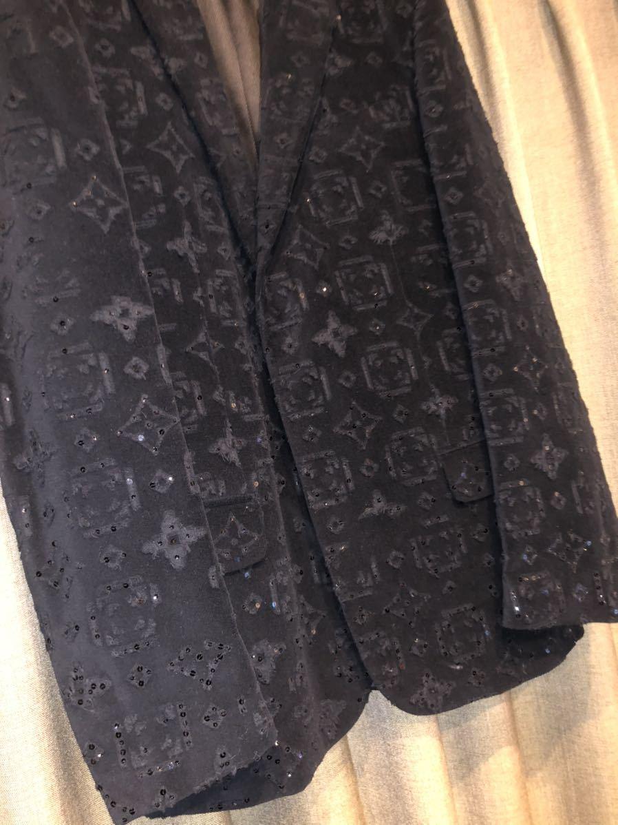 LOUIS VUITTON ルイヴィトン モノグラム総柄 テーラードジャケット 48 コットン ブラック 黒 超希少 定価60万円 高級品_画像2