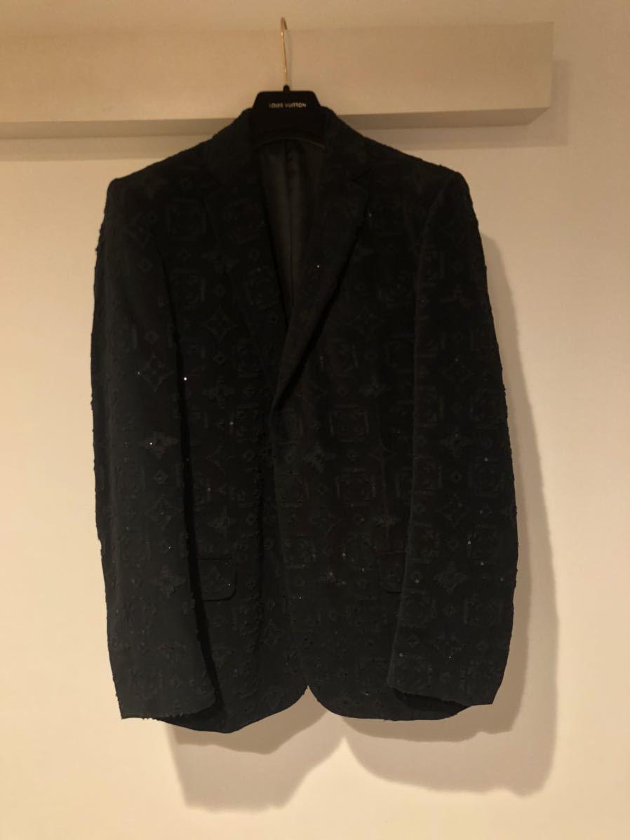 LOUIS VUITTON ルイヴィトン モノグラム総柄 テーラードジャケット 48 コットン ブラック 黒 超希少 定価60万円 高級品_画像4