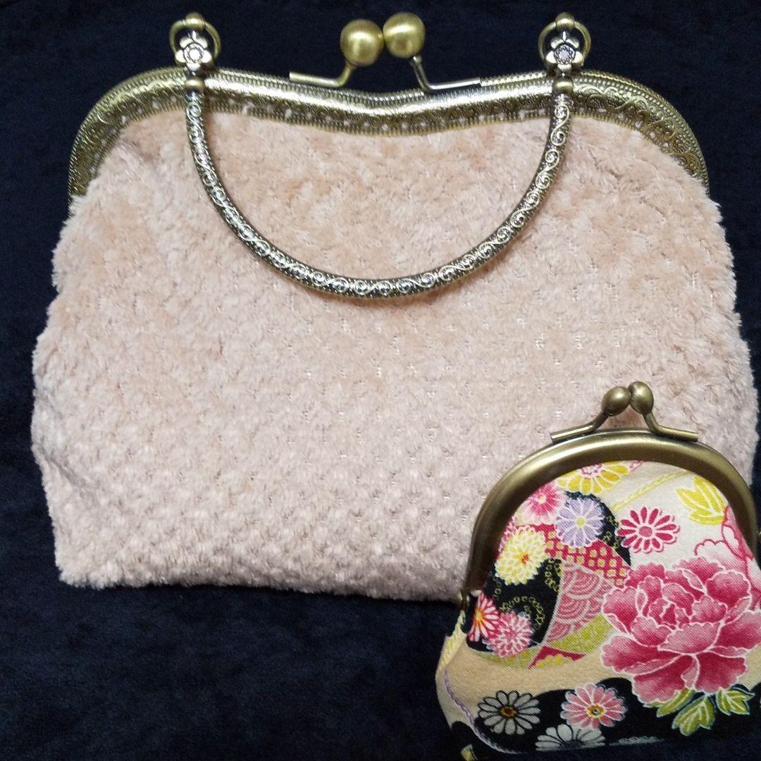 値引き!!ハンドメイド くすみピンク がま口ボアポーチ&ミニポーチ がま口 ハンドバッグ