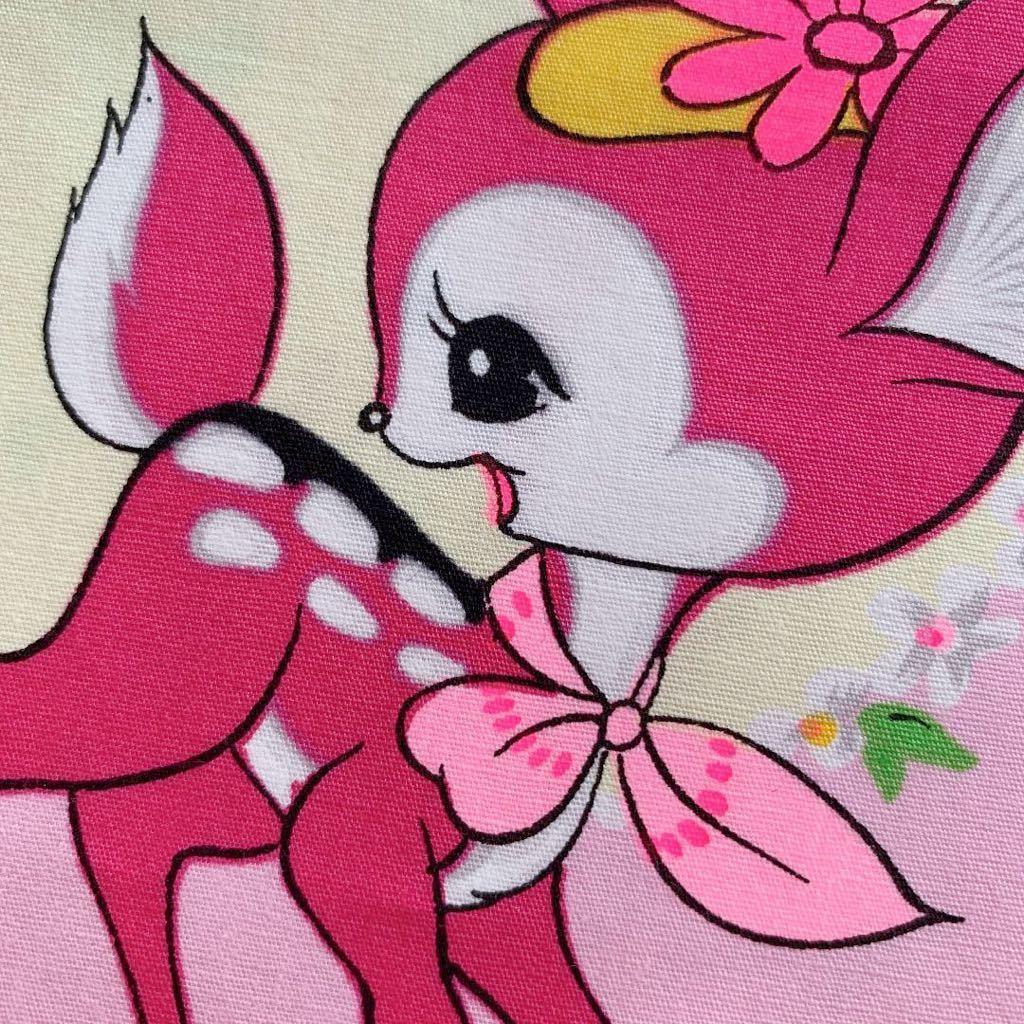 バンビ柄 昭和レトロ アンティーク デットストック 生地 コレクター ハンドメイド 布 ファンシー ノスタルジック 動物リメイク 子供 はぎれ