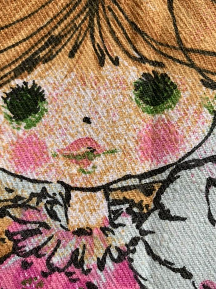 タペストリー 乙女 昭和レトロ アンティーク デットストック 生地 コレクター ハンドメイド ファンシー ノスタルジック イラスト メルヘン
