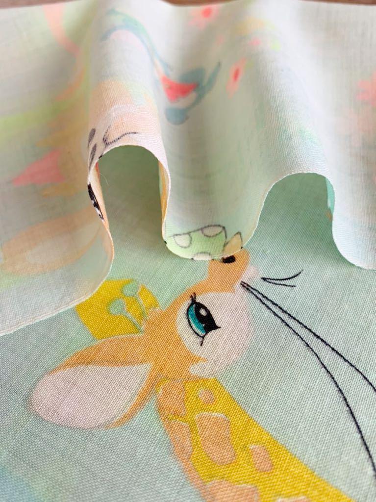 メリンス モスリン 古布 動物柄 昭和レトロ アンティーク デットストック 生地 コレクター ハンドメイド 布 ファンシー ノスタルジック