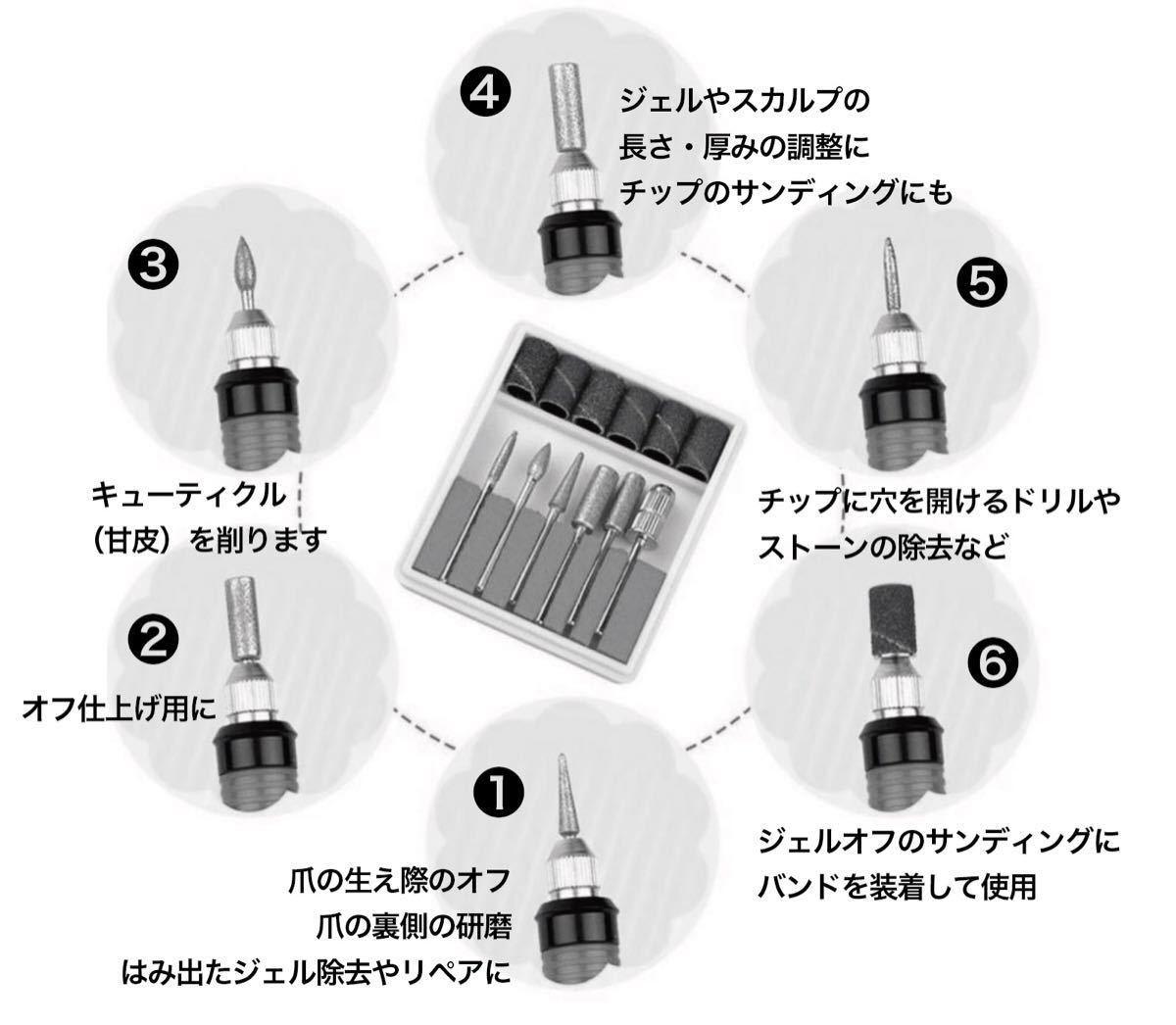 ハイパワー電動ネイルマシーン!6ビット&サンディングバンドセット/ホワイト