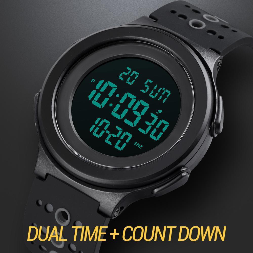 トップブランドのメンズ腕時計高級2時間ledライトカウントダウンデジタル腕時計クロノグラフ日付表示腕時計skmeiブランド時計_画像3