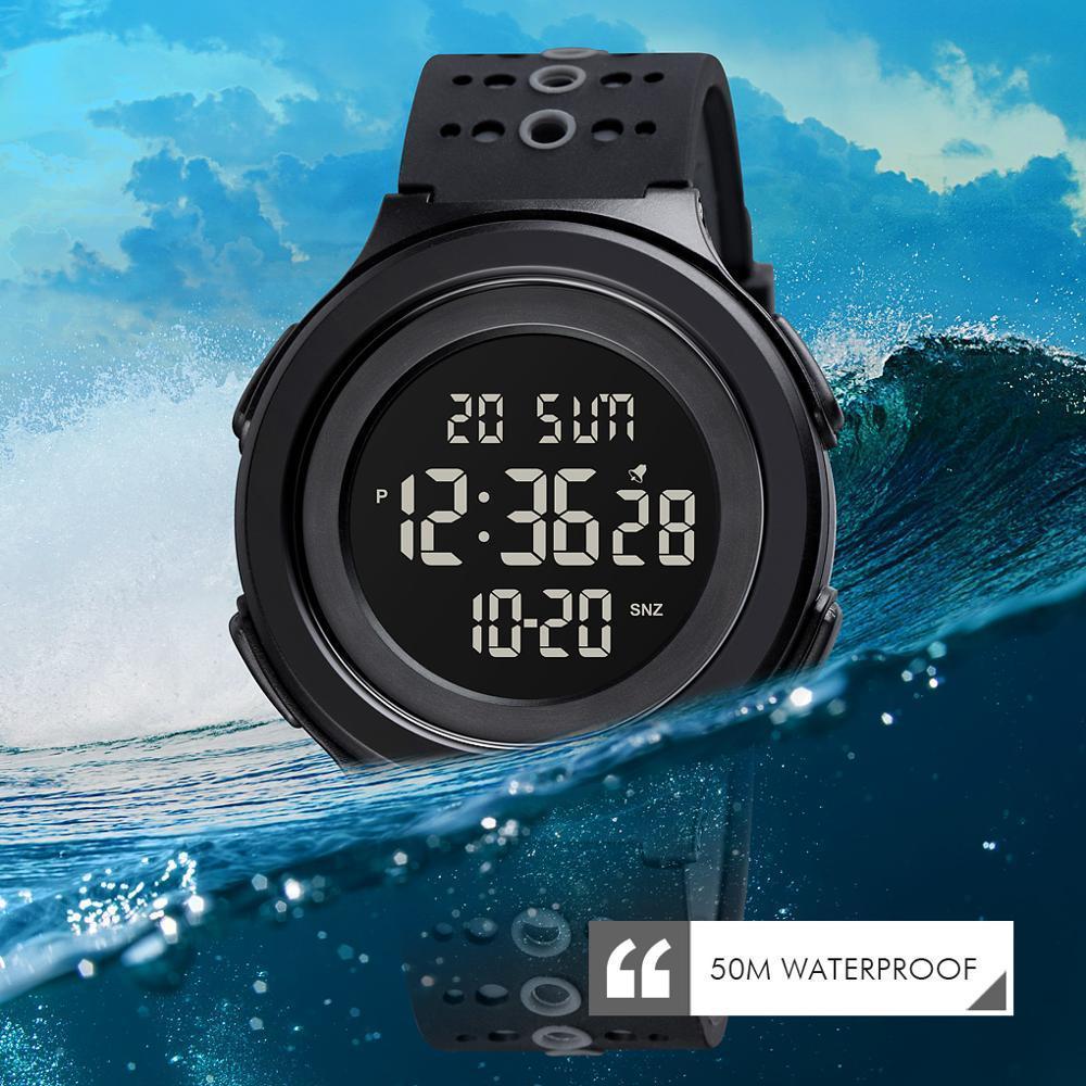トップブランドのメンズ腕時計高級2時間ledライトカウントダウンデジタル腕時計クロノグラフ日付表示腕時計skmeiブランド時計_画像4
