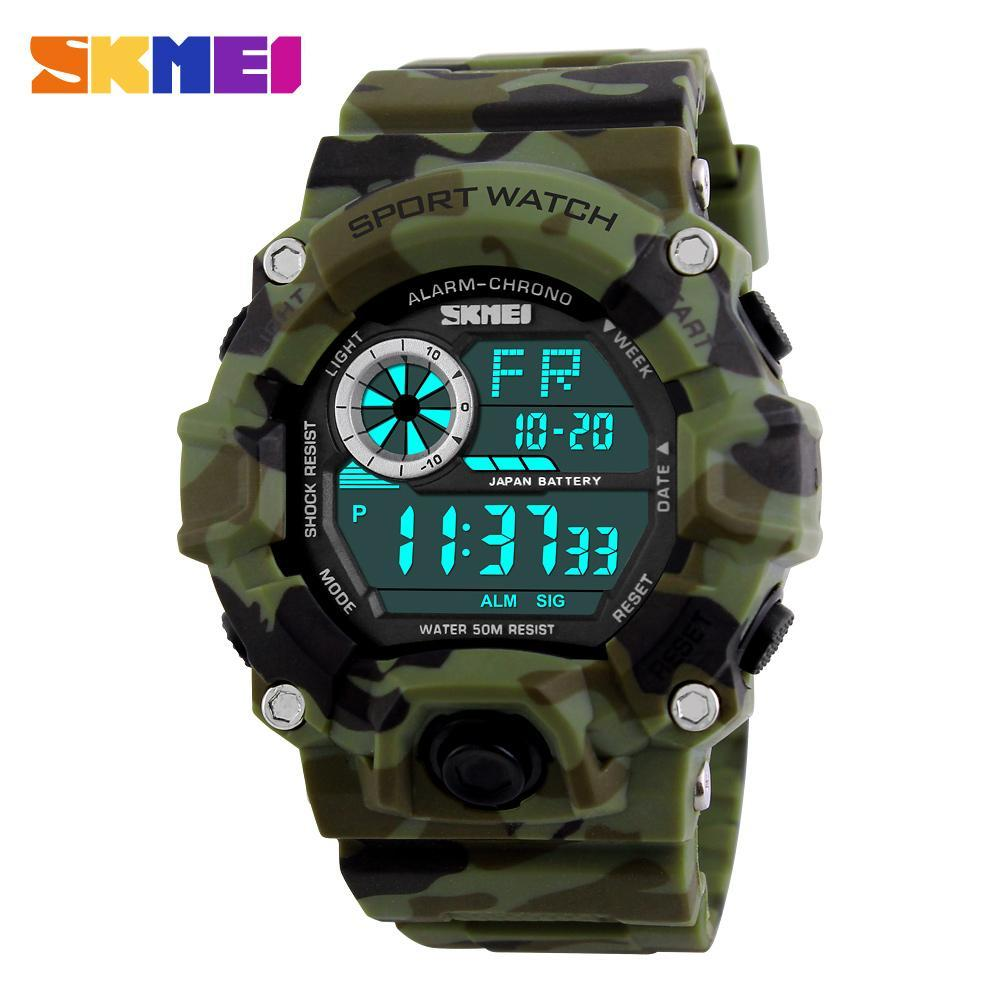 男性デジタルスポーツ腕時計 S-ショック SKMEI 腕時計メンズアーミー迷彩軍事多機能腕時計レロジオ masculino_画像1