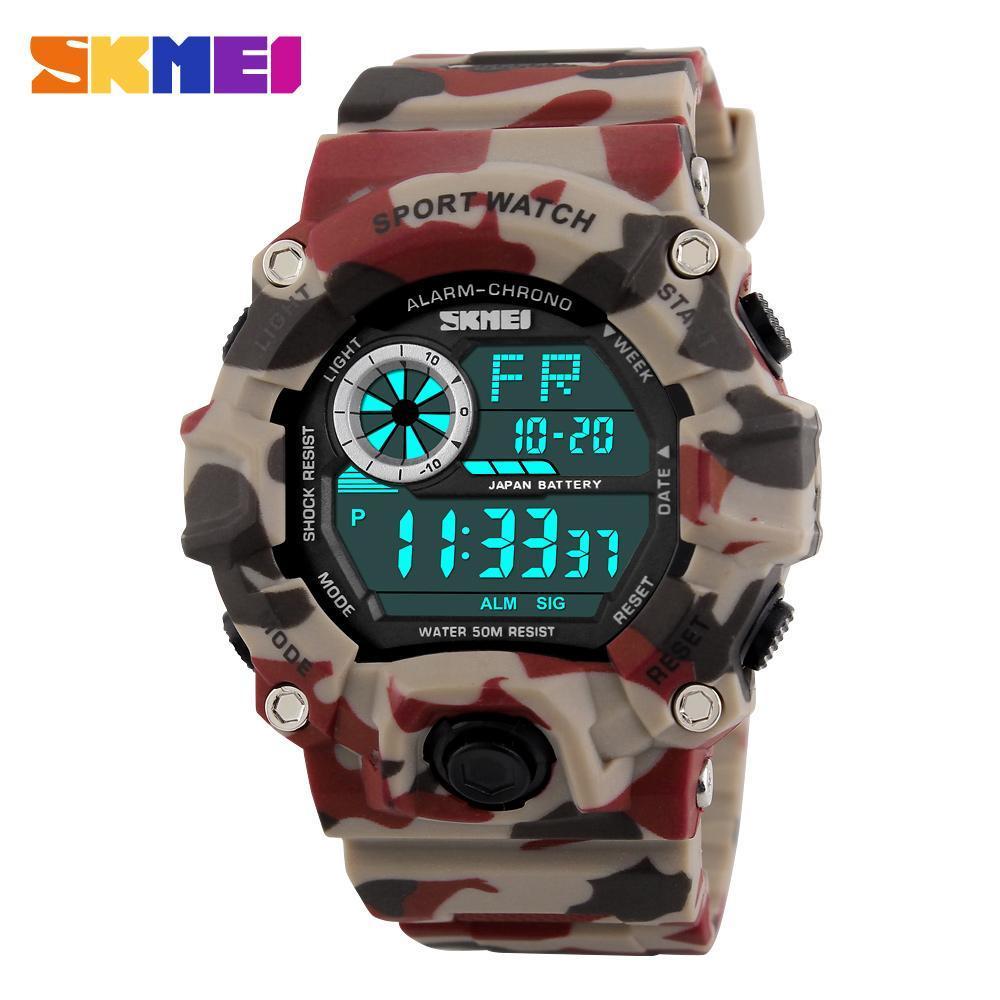 男性デジタルスポーツ腕時計 S-ショック SKMEI 腕時計メンズアーミー迷彩軍事多機能腕時計レロジオ masculino_画像2