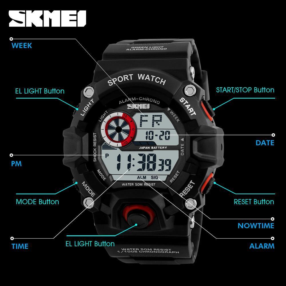 男性デジタルスポーツ腕時計 S-ショック SKMEI 腕時計メンズアーミー迷彩軍事多機能腕時計レロジオ masculino_画像4