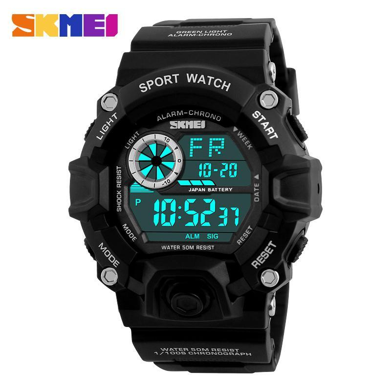 男性デジタルスポーツ腕時計 S-ショック SKMEI 腕時計メンズアーミー迷彩軍事多機能腕時計レロジオ masculino_画像3