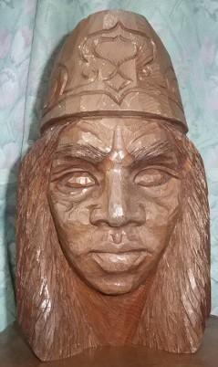 木彫り 男性アイヌ H-28_画像1