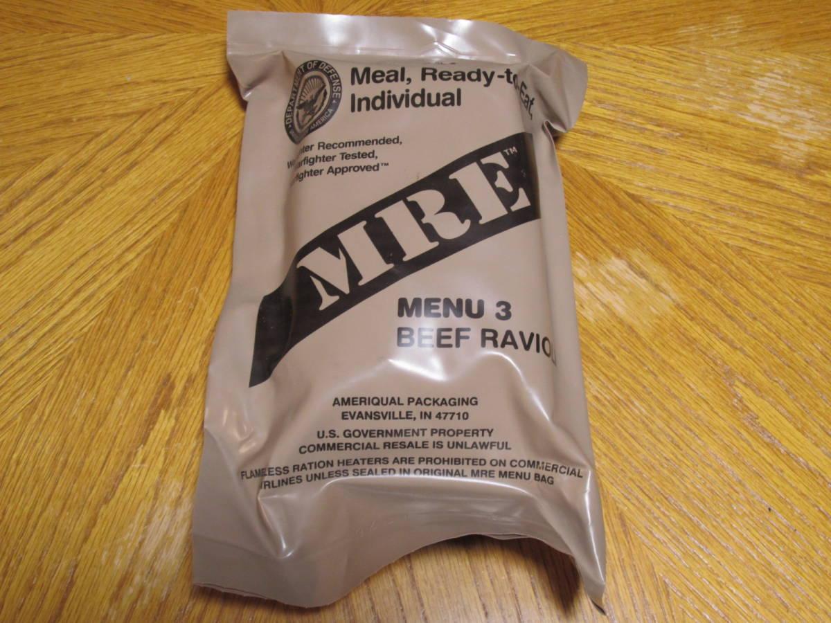 米軍放出品 未開封 MRE MENU3 BEEF RAVIOLI レーション_画像1