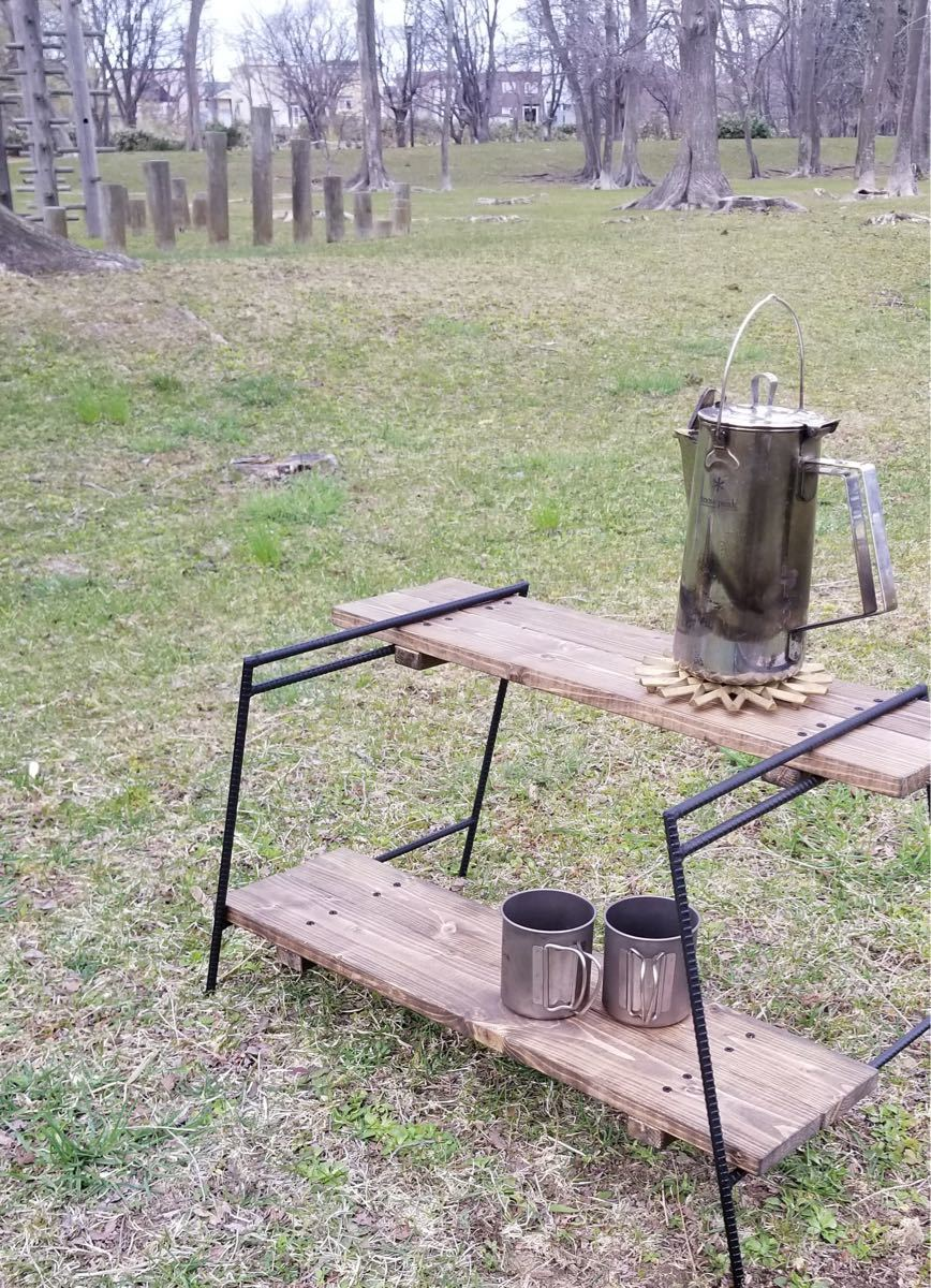 アイアンレッグ ウッドローテーブル中(板付き)アイアンラック インダストリアル