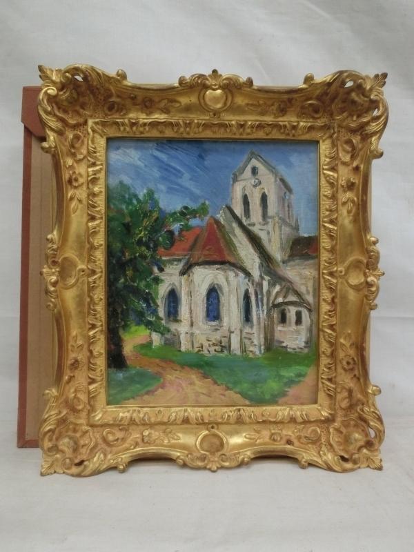 E0545 曽我英彦 2 「Eglise de Aurer-sur-Oise(オーヴェルの教会)」 油彩 F2 額装 1974年