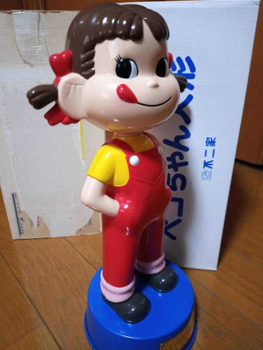 非売品 不二家 ペコちゃん 50周年記念 首ふり人形 金属製青台座 高さ約35cm 当選品_画像8