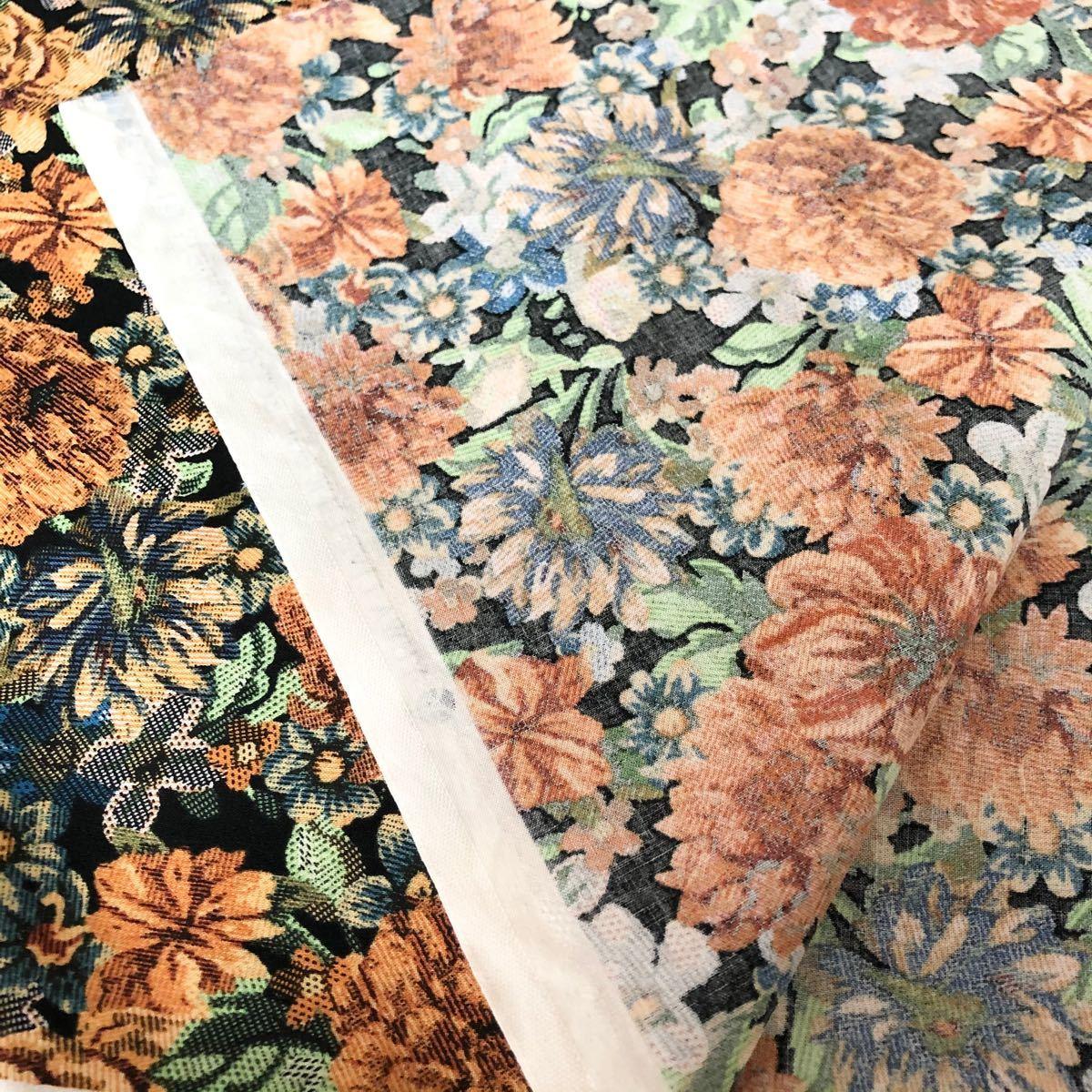 オックス生地  黒地 花柄 110幅×2 m