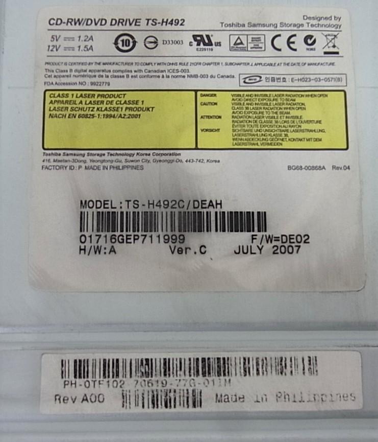 Toshiba SAMSUNG CD-RW DVDドライブ TS-H492c