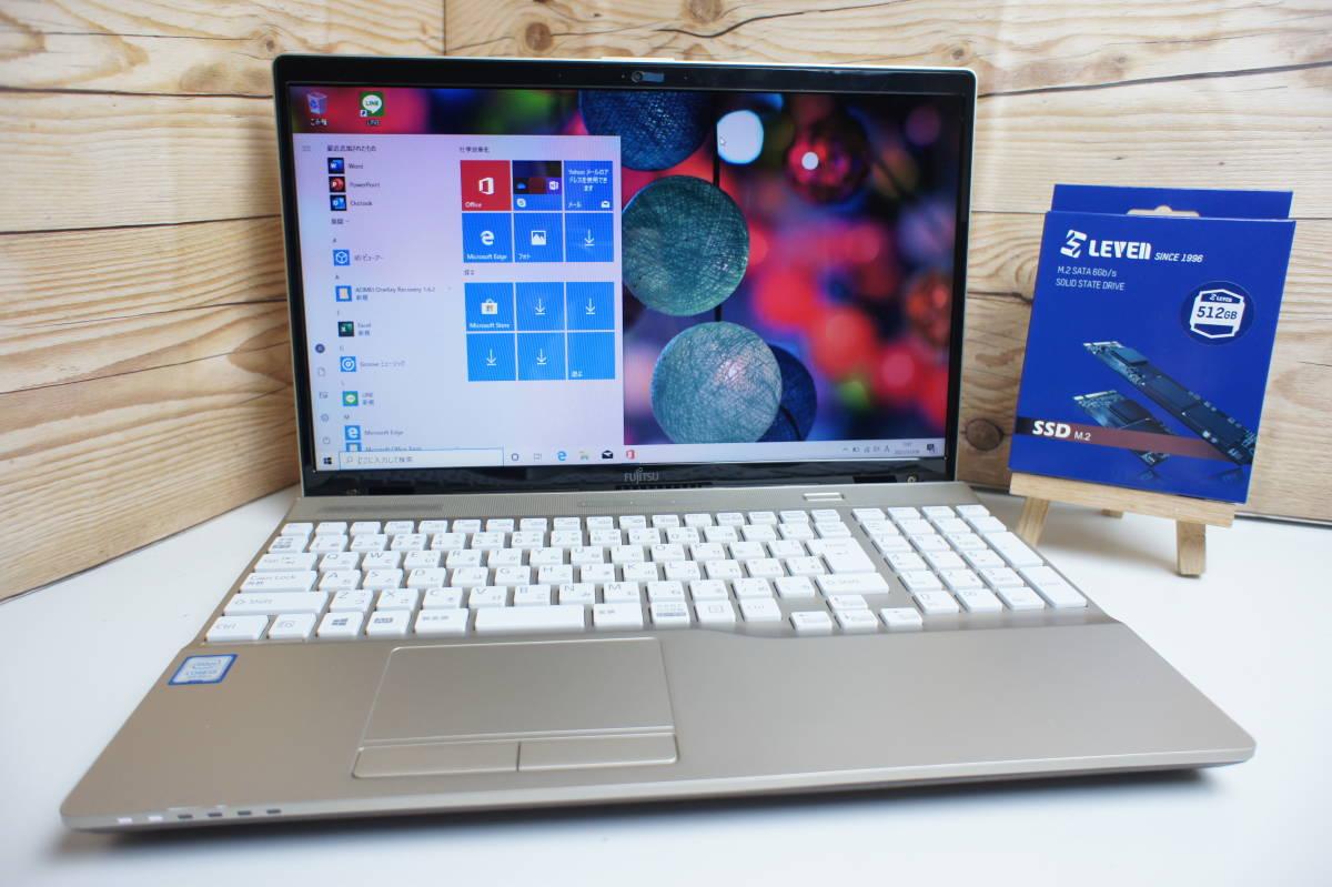 2018年モデル♪富士通 LIFEBOOK AH45/C2 (新品)激速M.2-SSD512GB+HDD1TB Core i3-7100U メモリ8GB office2016 超美品♪