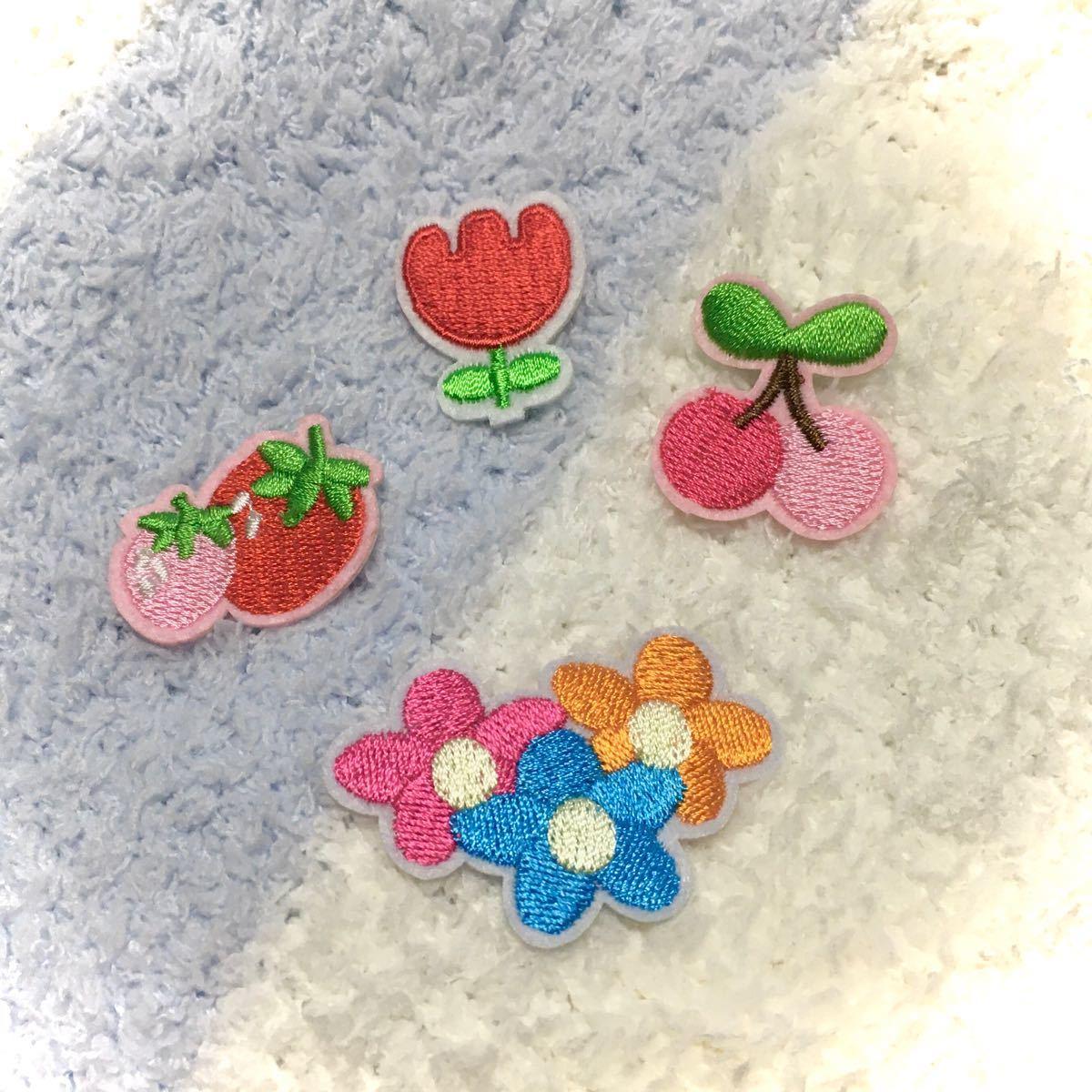 アイロンワッペン 刺繍ワッペン 花 果物