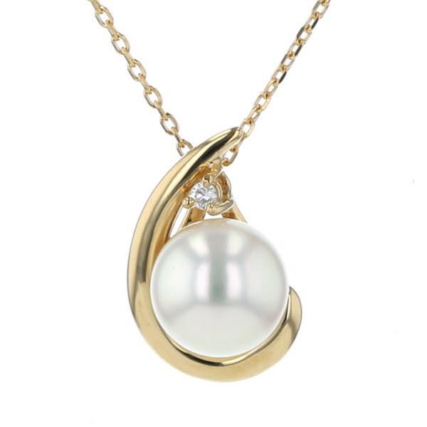 TASAKI Tasaki K18YG Yellow Gold Necklace Akoya Pearl 7.0mm Diamond 0.01CT Pearl 40cm [New Finished] [ZZ] [second-hand]