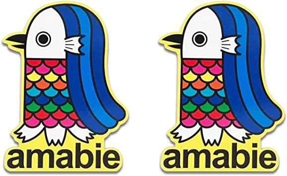 amabie 2枚セット アマビエ 日本製 マグネットステッカー お守り 縁起物 カーマグネット 撥水性 耐候性 UV加工 (a_画像1