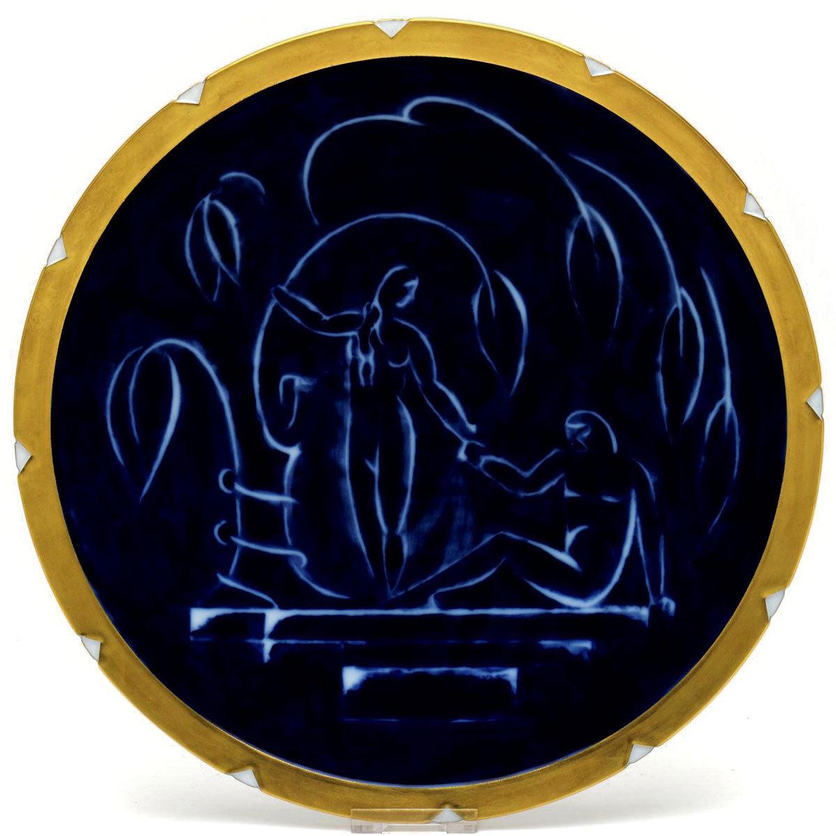 セーブル(Sevres) 絵皿 飾り皿 ドーラ アダムとイブ図(ゴールドエッジ) 手描き 磁器製 皿 2007年復刻 フランス製 新品 美術品&絵画&その他