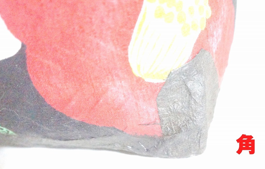一閑張りの買い物かご 椿 新品未使用品 和紙と布 竹かご_画像7