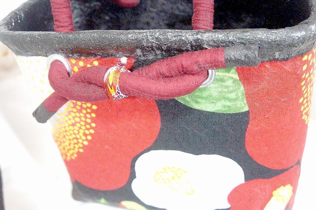一閑張りの買い物かご 椿 新品未使用品 和紙と布 竹かご_画像6
