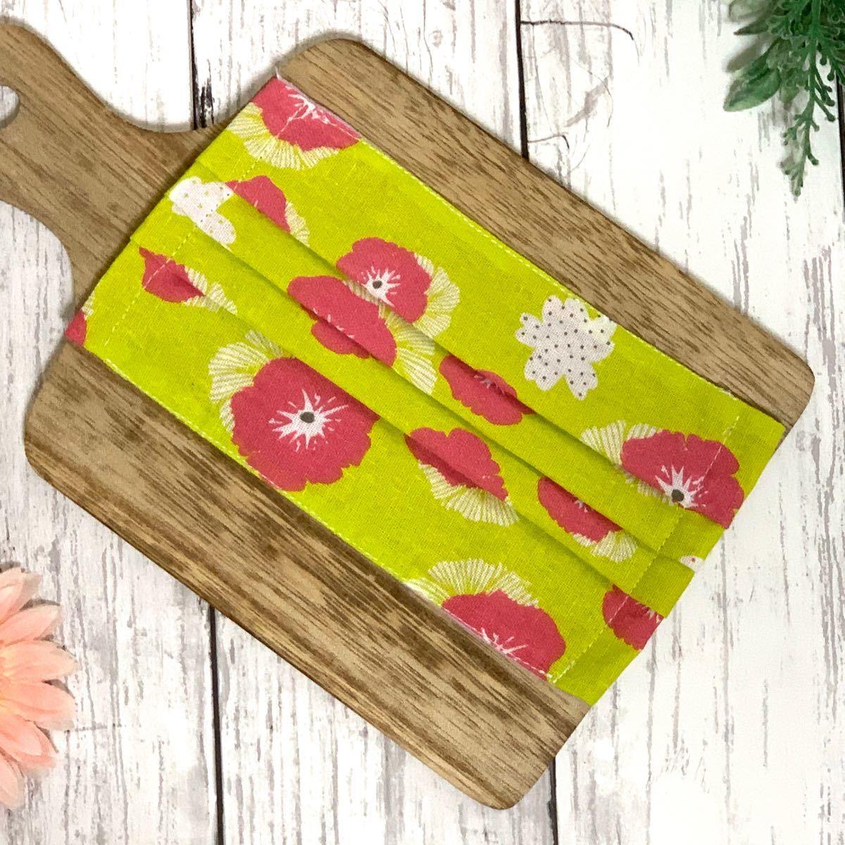 【ハンドメイド】花柄 和柄 薄めコットン生地 3枚セット 立体インナー インナーガーゼ レディース 大人サイズ プリーツ