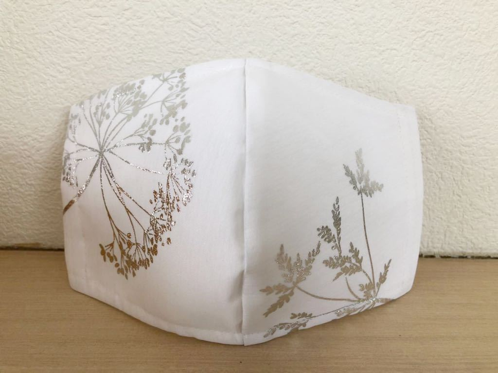 「横長め」立体インナーマスク☆ハンドメイド☆ダブルガーゼ/マスクカバー/やや大きめ/植物♪花/白/ホワイト♪シルバー_画像3