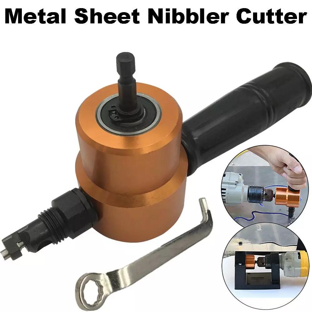 双頭シート 金属 切削 ニブラー 金属 鋸カッター 360度 調整可能 ドリルアタッチメント 余分なパンチ 切削 工具_画像1