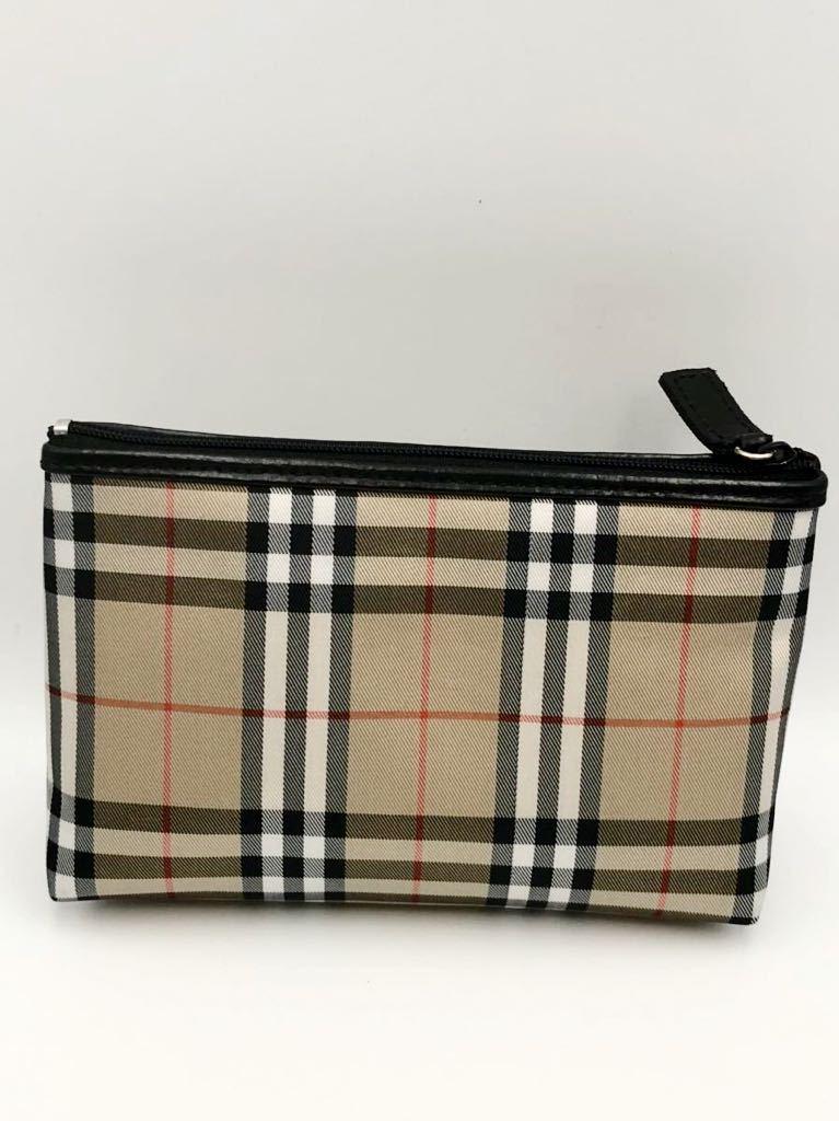 バーバリー ポーチ ブラウン×チェック 未使用品 化粧ポーチ 財布 カバン BURBERRY マルチケース ハンドバック コインケース