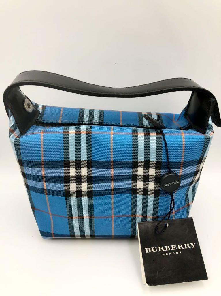 バーバリー ポーチ ブルー×チェック 未使用品 化粧ポーチ 財布 カバン BURBERRY マルチケース ハンドバック コインケース