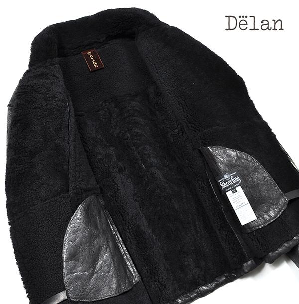 新品19万 Delan デラン 圧倒的な存在感!最高級ムートンレザージャケット (52「XLサイズ相当」) 黒 イタリア製 メンズレザーブルゾン _画像3