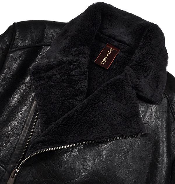 新品19万 Delan デラン 圧倒的な存在感!最高級ムートンレザージャケット (52「XLサイズ相当」) 黒 イタリア製 メンズレザーブルゾン _画像2