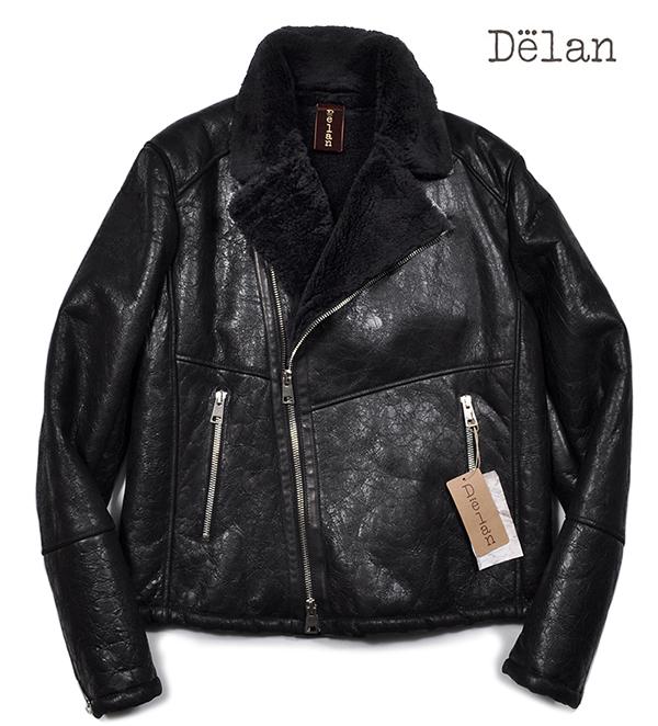 新品19万 Delan デラン 圧倒的な存在感!最高級ムートンレザージャケット (52「XLサイズ相当」) 黒 イタリア製 メンズレザーブルゾン _画像1