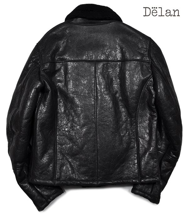 新品19万 Delan デラン 圧倒的な存在感!最高級ムートンレザージャケット (52「XLサイズ相当」) 黒 イタリア製 メンズレザーブルゾン _画像4