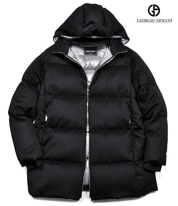 新品74万 GIORGIO ARMANI ジョルジオ アルマーニ 高級感を纏う!大人上品なフーデットダウンコート メンズダウンジャケット 黒ラベル