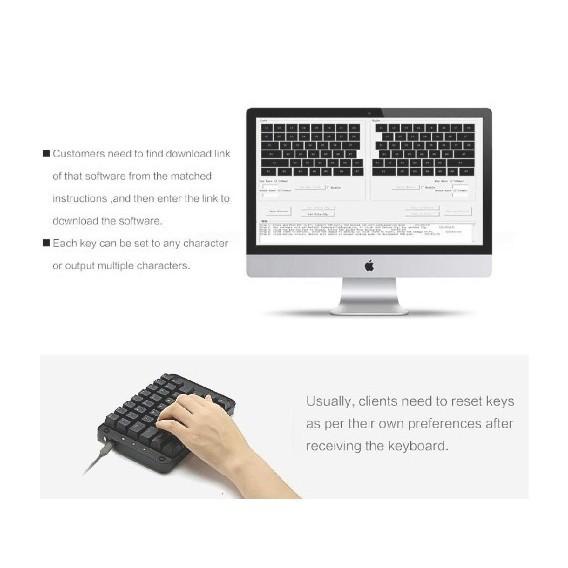 片手メカニカルキーボード ゲーミング 43キー  Windows 7/8/10/Mac OS/Linuxホワイト・バックライト付き